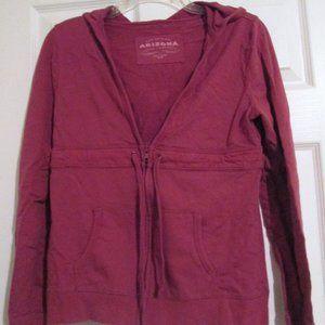Arizona Raspberry V-Neck Zip Up Pocket Hoodie Sz M